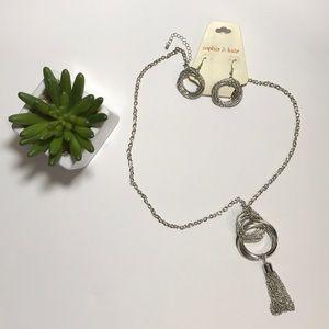 Sophia & Kate Silver Tone Necklace & Earrings Set